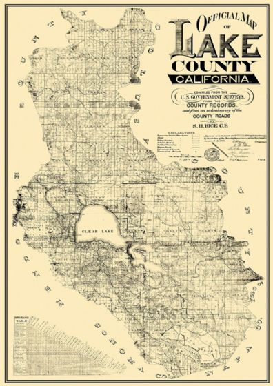 Official Map Of Lake County, California 1892. Print/Poster (4839)